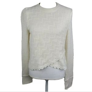 Free People Cream Lace Sweater Cropped Layered Hem